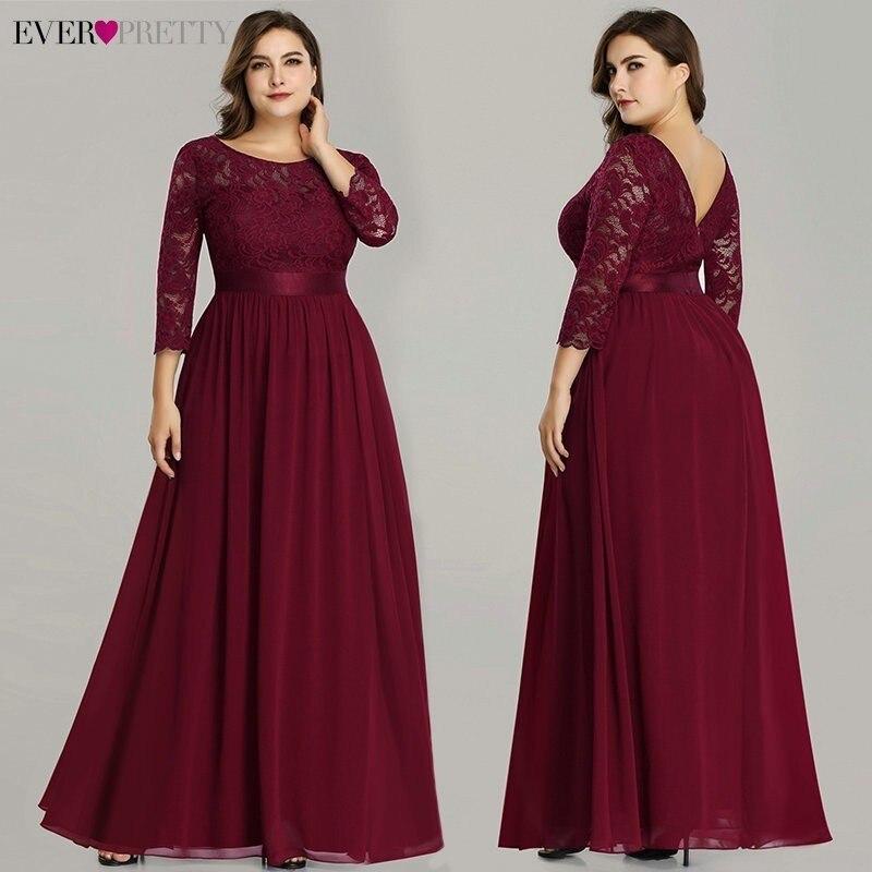 Grande taille Ever Pretty robes de soirée longue EP07412 élégante manches longues a-ligne dentelle en mousseline de soie bleu marine hiver robe de mariée