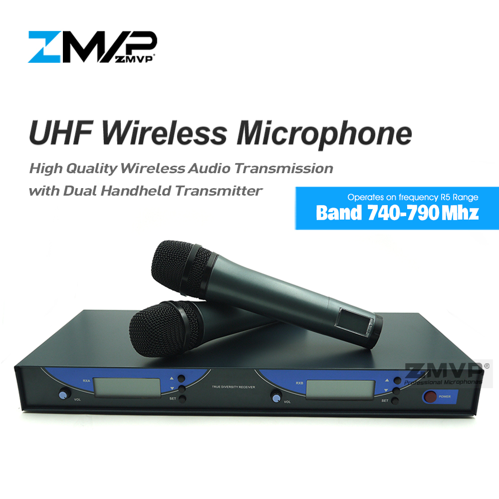ZMVP UHF Professional 545 G2 Wireless Microphone Live Vocals Cordless Karaoke System With Dual Handheld Transmitter