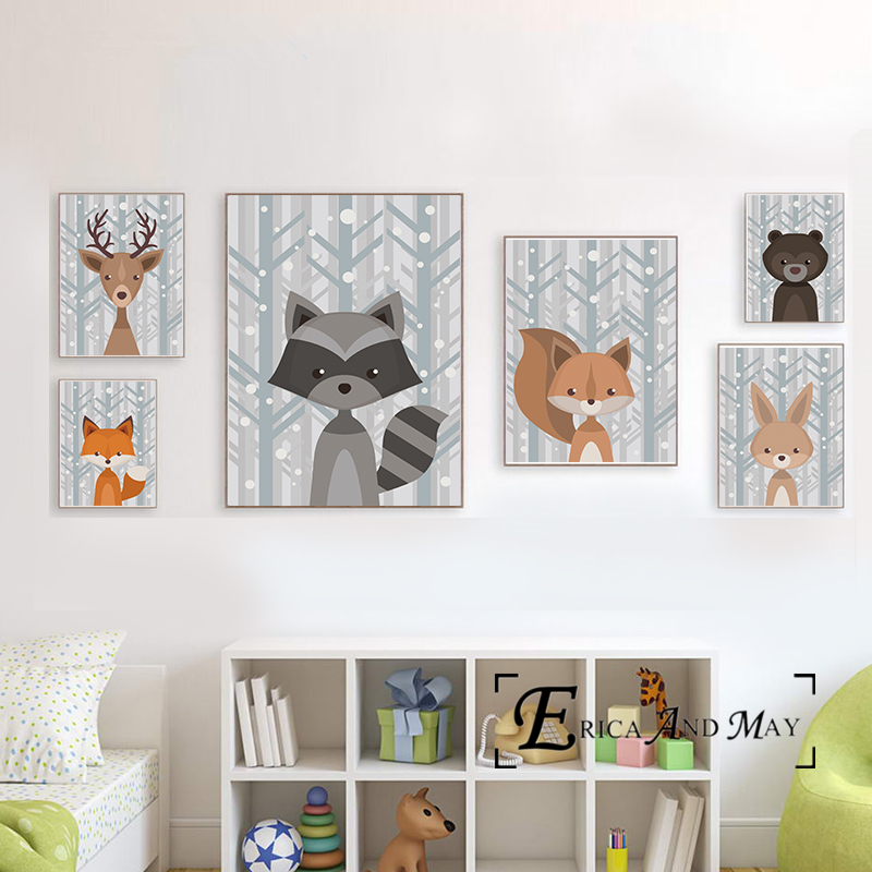 Bear Fox Deer Nursery Simple Animals Canvas Painting Posters And Prints For Kids Room No Framed Wall Art Picture Home Decor
