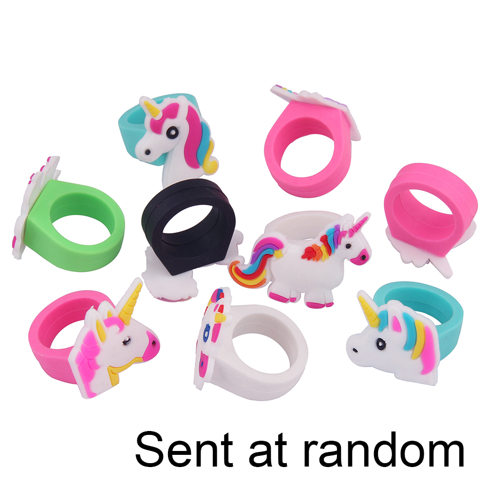 300pcs Unicorn Rings Rainbow Kids Girl Children s Rubber Toys Birthday Party Mix Animals Jewelry Christmas