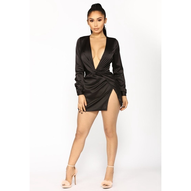 Sexy Women Summer Long Sleeve Deep V Neck Satin Mini Dress Ladies Short Knot Wrap Split Party Dresses 4