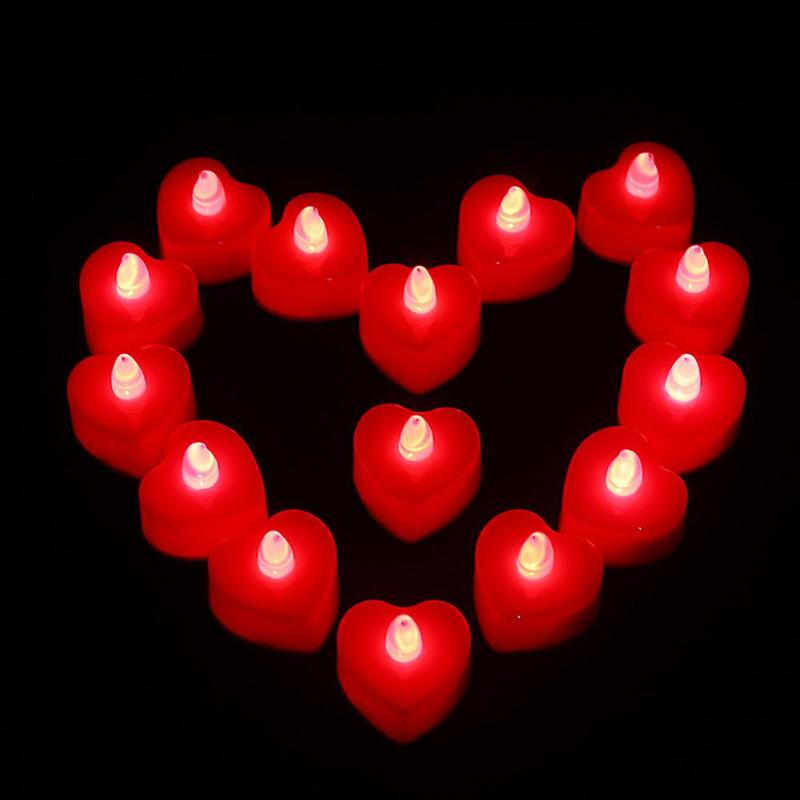24pcs Heart Shape LED Candles Battery Powered Flameless Tea Lights Decor Yellow/ Red/ Pink/ Multicolor Flashing24pcs Heart Shape LED Candles Battery Powered Flameless Tea Lights Decor Yellow/ Red/ Pink/ Multicolor Flashing