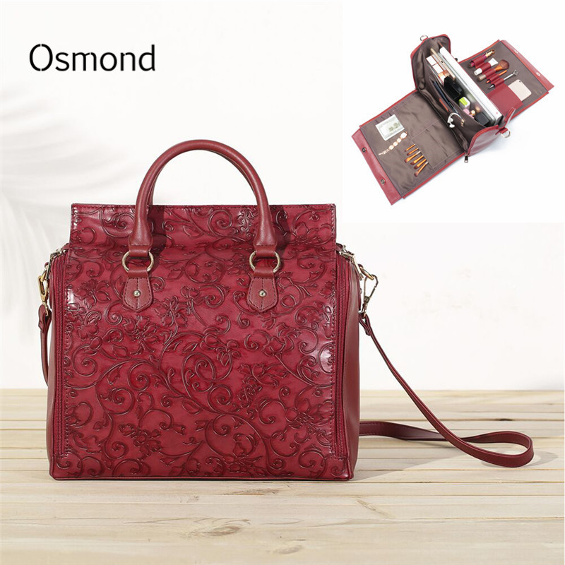 Osmond Feminine Bolsa luxury Women Handbag Embossed Leather Organizer Bag Female Tote Multifunction Large Capacity Shoulder