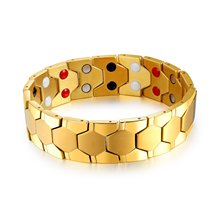 Magnetic Gold Bracelet Therapeutic Health Energy Magnetic Bracelet Bangle 4 In 1 Germanium Powder Pain Relief for Arthritis (China)