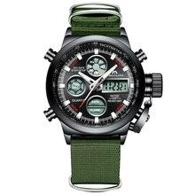 MEGALITH אופנה שעון גברים LED דיגיטלי צבאי ספורט שעון עמיד למים ירוק ניילון רצועת הכרונוגרף מעורר זכר Reloj Hombre