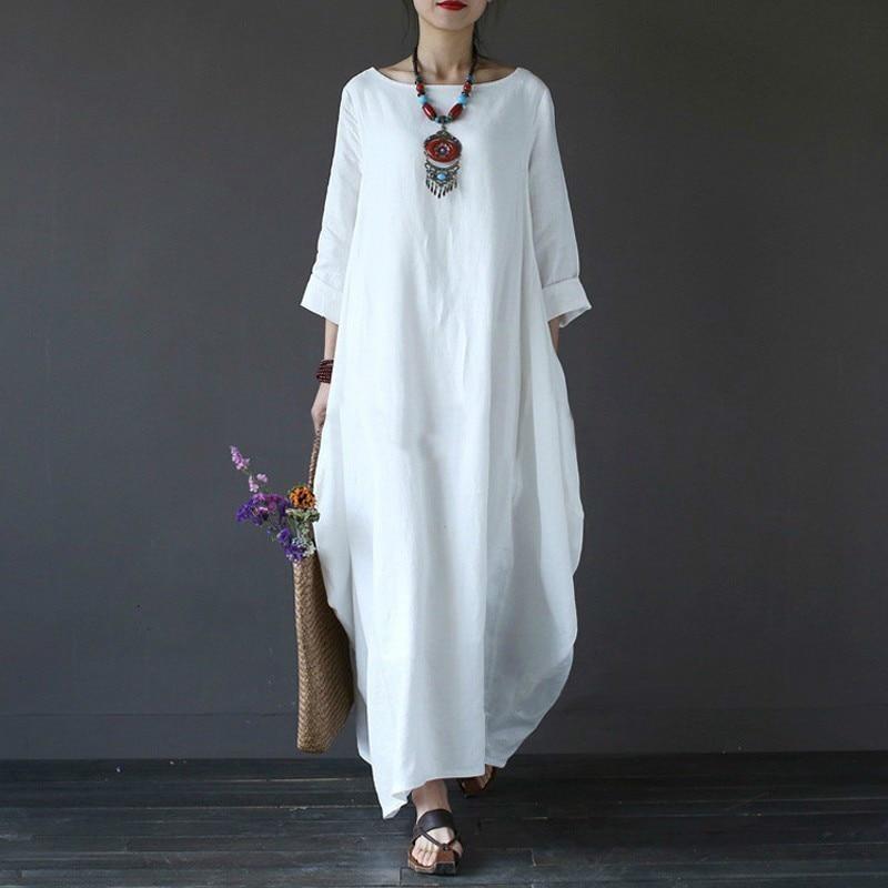 Shengpalae 2018 automne grande taille robes femmes 4Xl 5Xl lâche grande taille Robe o-cou blanc Boho Robe à manches longues Maxi Robe nouveau