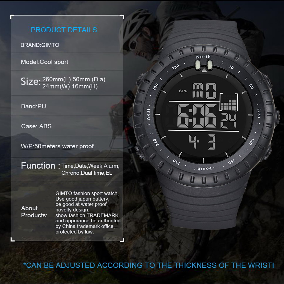 GIMTO Large Digital Watch Men Sports Watches For Running Stopwatch Waterproof Militar LED Electronic Wrist Watches Men 2018 Gift in Digital Watches from Watches