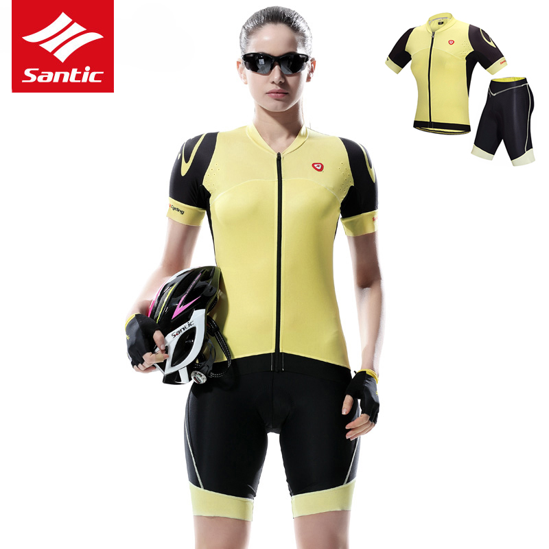 Santic Cycling Jersey Set Women Pro Team Bike Bicycle Jersey Summer Short Sleeve Breathable Cycling Set Maillot Ciclismo