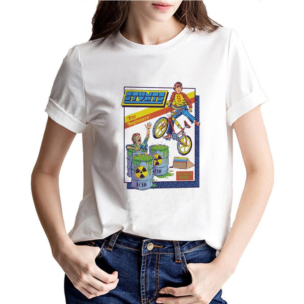 Funny kid Print 2019 New Summer Women Tshirt Short Sleeve Let's Summer Demons Graphic Harajuku T shirt Women tops streetwear