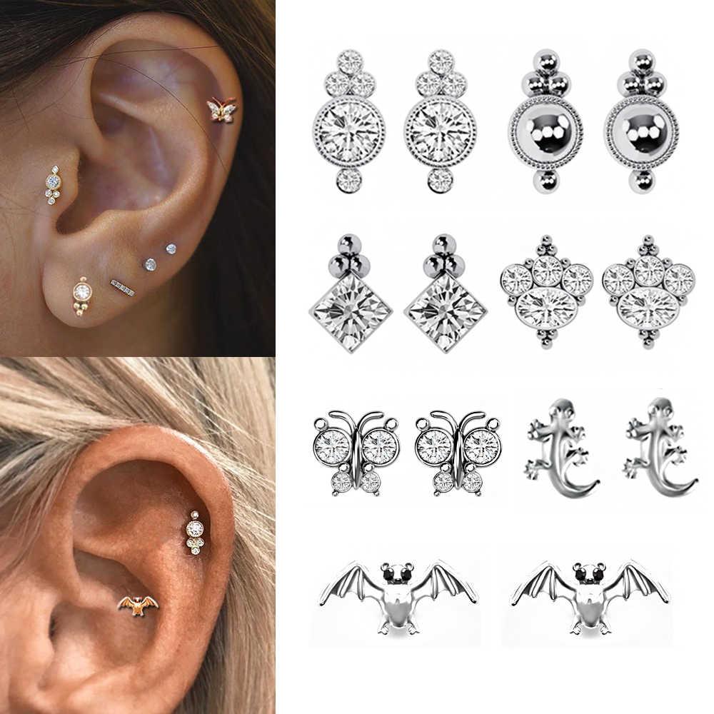 Lip Body Piercing Jewelry Cartilage Helix Rhinestone Tragus Earrings Ear Studs