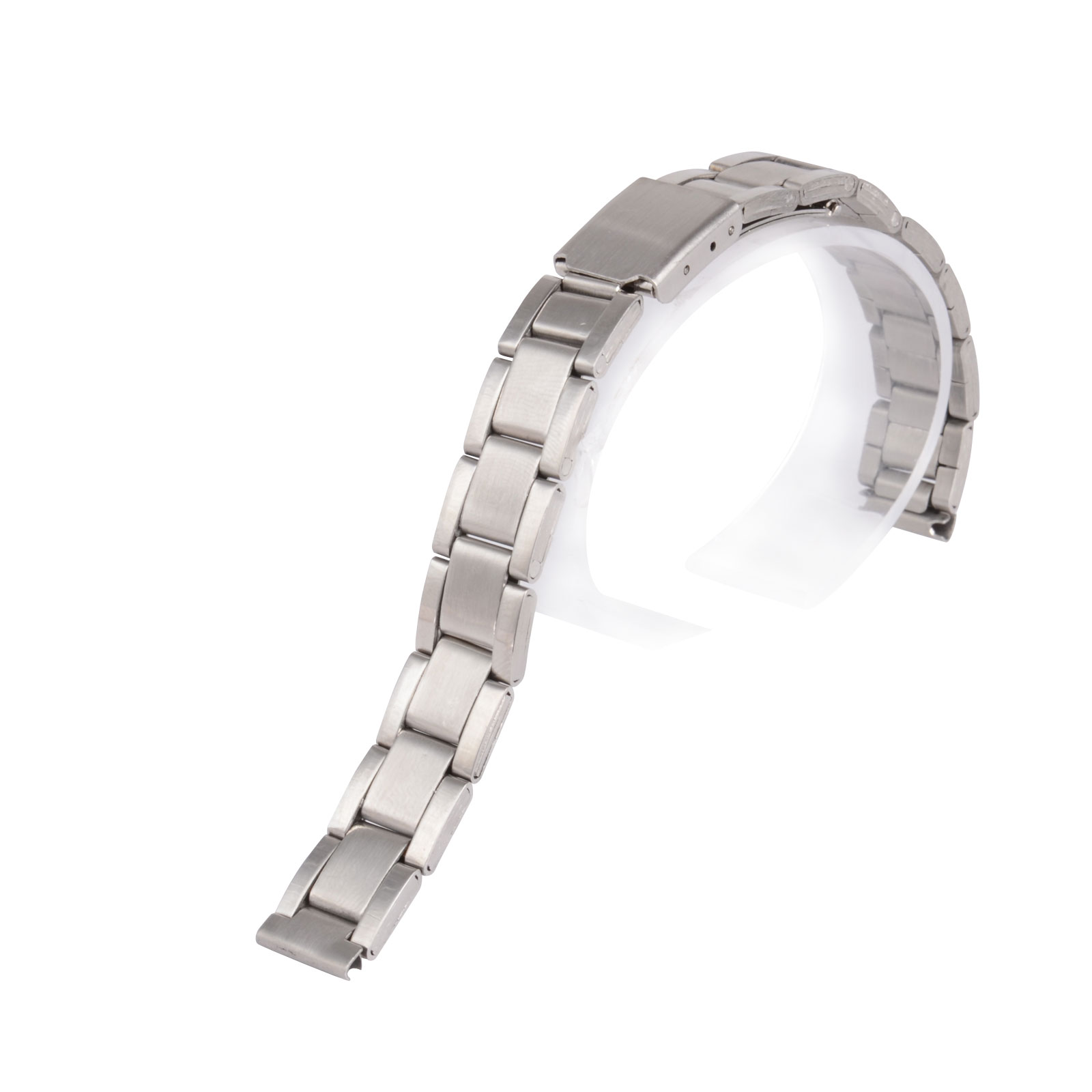 12 14 16 18 20 22 24mm Silver Stainless Steel Straight End Replacement Band Strap  Folding Clasp Metal Watchband For Men Women