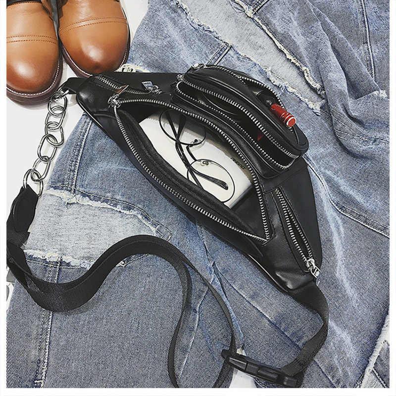 Correia das mulheres Sacos de Moda de Rua Sacos de Cintura Pacotes de Cintura De Couro PU Senhoras Cinto Telefone Carteira Bolsa Crossbody Pacote Peito Feminino bum