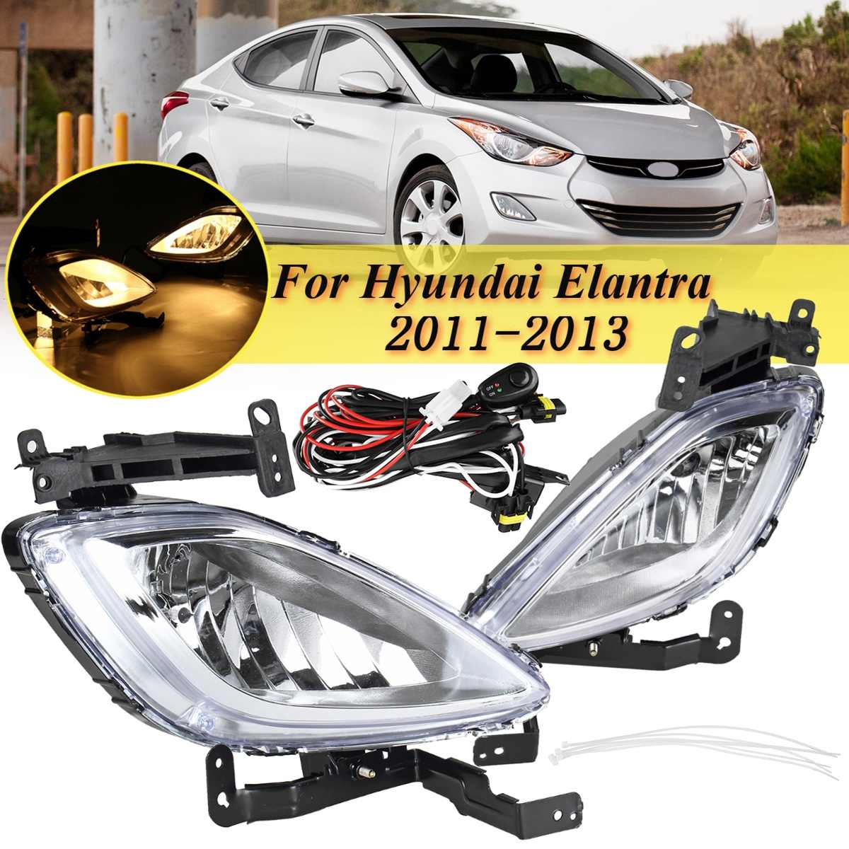 For Hyundai Elantra 2011 2012 2013 Original 1 Pair Car Front Fog Light Lamp With Wire Bulb Driving Drl Light Replacement