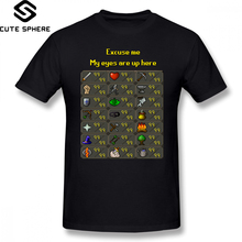Runescape T Shirt My Eyes Are Up Here T-Shirt 100 Cotton Graphic Tee Male XXX Short-Sleeve Summer Fun Tshirt