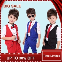 2018 NEW Child wedding Suit vest shirt pant Baby Costume 2 12Yrs Teen boy Prom dress School Show Kid Clothing Set Blue Red Black