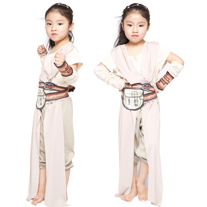 Star Wars Rey Jedi Skywalker Cosplay Costumes Kids Girls Force Awakens May The Force Be with You Children's Day Carnival Gift