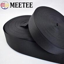 5Yards Meetee 2/2.5/3.2/3.8/5cm Black Nylon Webbing Ribbon Band Belt Tape for Sewing Bag Backpack Garment DIY Strap Safet Crafts