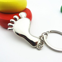 Foot Keychain Customized Logo Laser Engraved Key Ring Wedding Party Gift Children Foot Key Chain Free Shipping