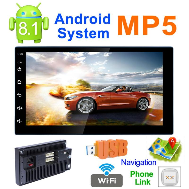 VODOOL 7 Inch Touch Screen Car Stereo MP5 Player 2Din Quad-Core Android 8.1 GPS Navi AM FM Radio WiFi BT4.0 Phone Link Head Unit