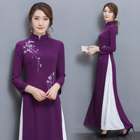 Vietnam Womens Purple Dress New 2019 Chinese traditional dress Vietnam ao dai Collar long sleeve Retro dress