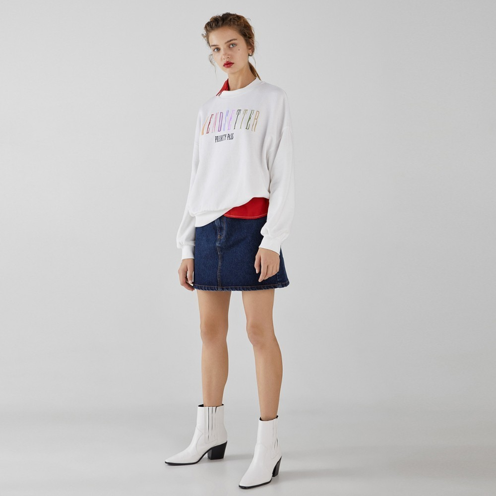 HDY Haoduoyi 2019 Fashion Girl Hoodie Rainbow Letter Embroidered Casual Rib Sport Style