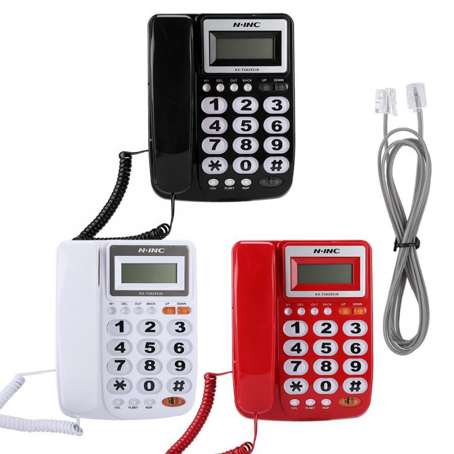 Escritório Fixo de Telefone Com Identificador de chamadas Display telefono inalambrico de casa Botões Grandes com cancelamento de Ruído Função de calculadora