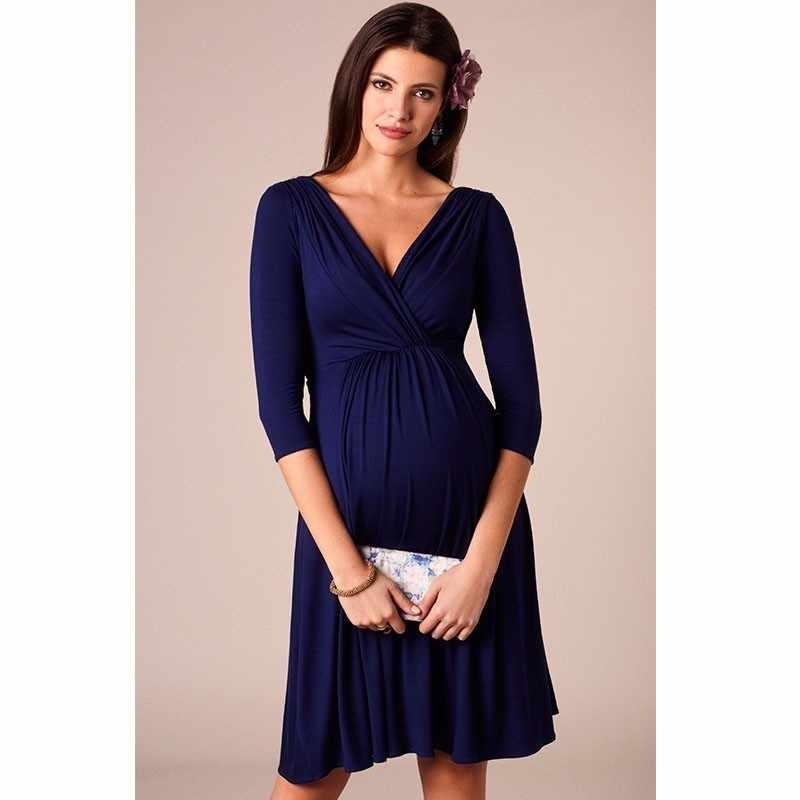 d8b9bfe9045c7 ... ENXI Christmas Pregnant Women Evening Party Dress Elegant Summer Lady  Dress Maternity Clothes Plus Size V ...