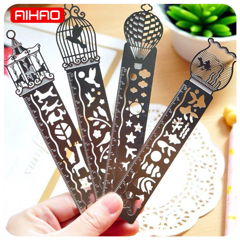 Cute Ruler Creative Metal Bookmark Kawaii Horse Birdcage Hollow Ruler For Kids Student Gift School Supplies Novelty Stationery