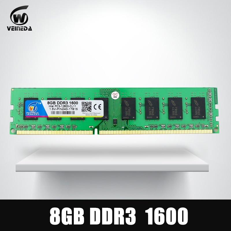 Mémoire vive VEINEDA ddr3 32 gb 4X8 gb mémoire vive Dimm pour tous les PC3-12800 de bureau Intel AMD 32 gb ddr 3 1600 240pin
