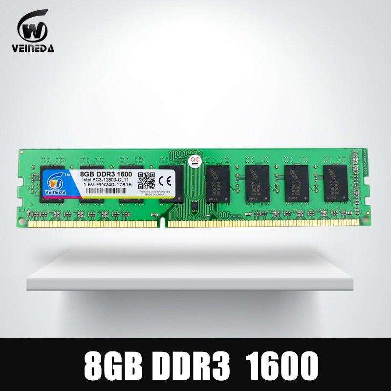 VEINEDA ram ddr3 32gb 4X8gb Dimm memoria ram For all Intel AMD Desktop PC3-12800 32gb ddr 3 1600 240pin все цены
