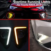 LED DRL For Toyota RAV4 2016 2017 Daytime Running Light Yellow Turning Signal Waterproof ABS 12V Car Fog Lamp Hole Styling Blink