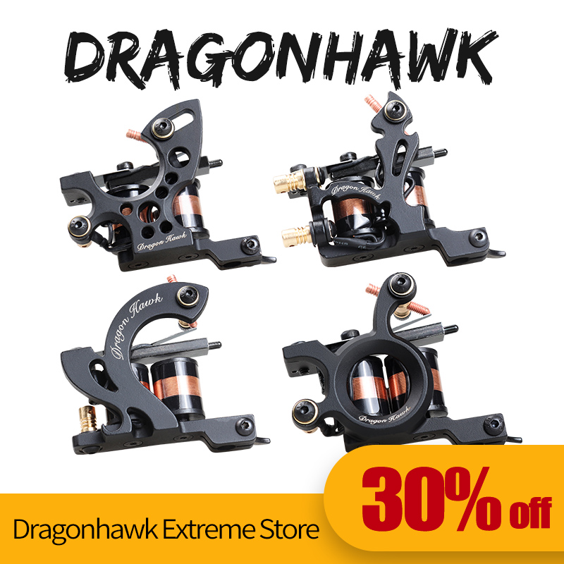 4 pcs Mesin tatu profesional Dragonhawk Fine Lining Shading Tattoo Gun Coloring Lining 10 Wraps Tattoo Machines