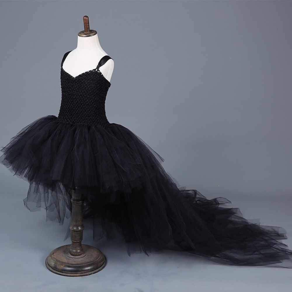 Черное платье для девочек со шлейфом, фатиновое детское бальное платье для девочек, детские костюмы на Хэллоуин для девочек, детское праздничное платье-пачка с цветами