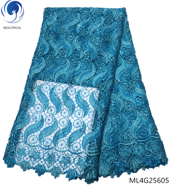 BEAUTIFICAL water soluble lace fabrics with sequins laces dress cheap african guipure laces dress 5yards/lot ML4G256