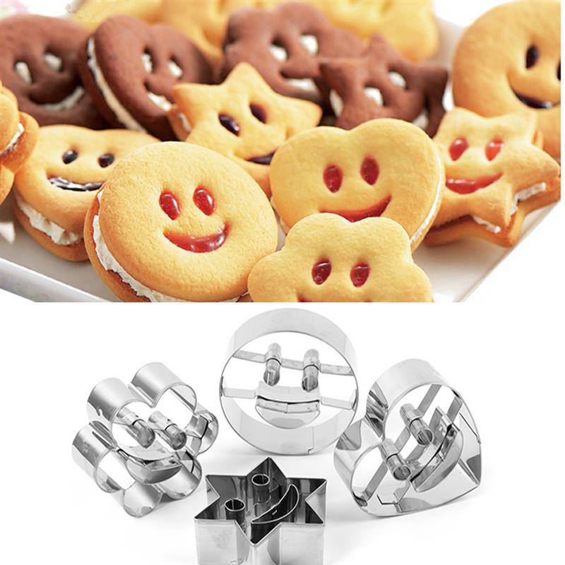 76cd637f0e0ef6 4Pcs Smiling Face Emoji Biscuit Cookie Cutter Stainless Steel Cake  Decorating Mold DIY Baking Moulds