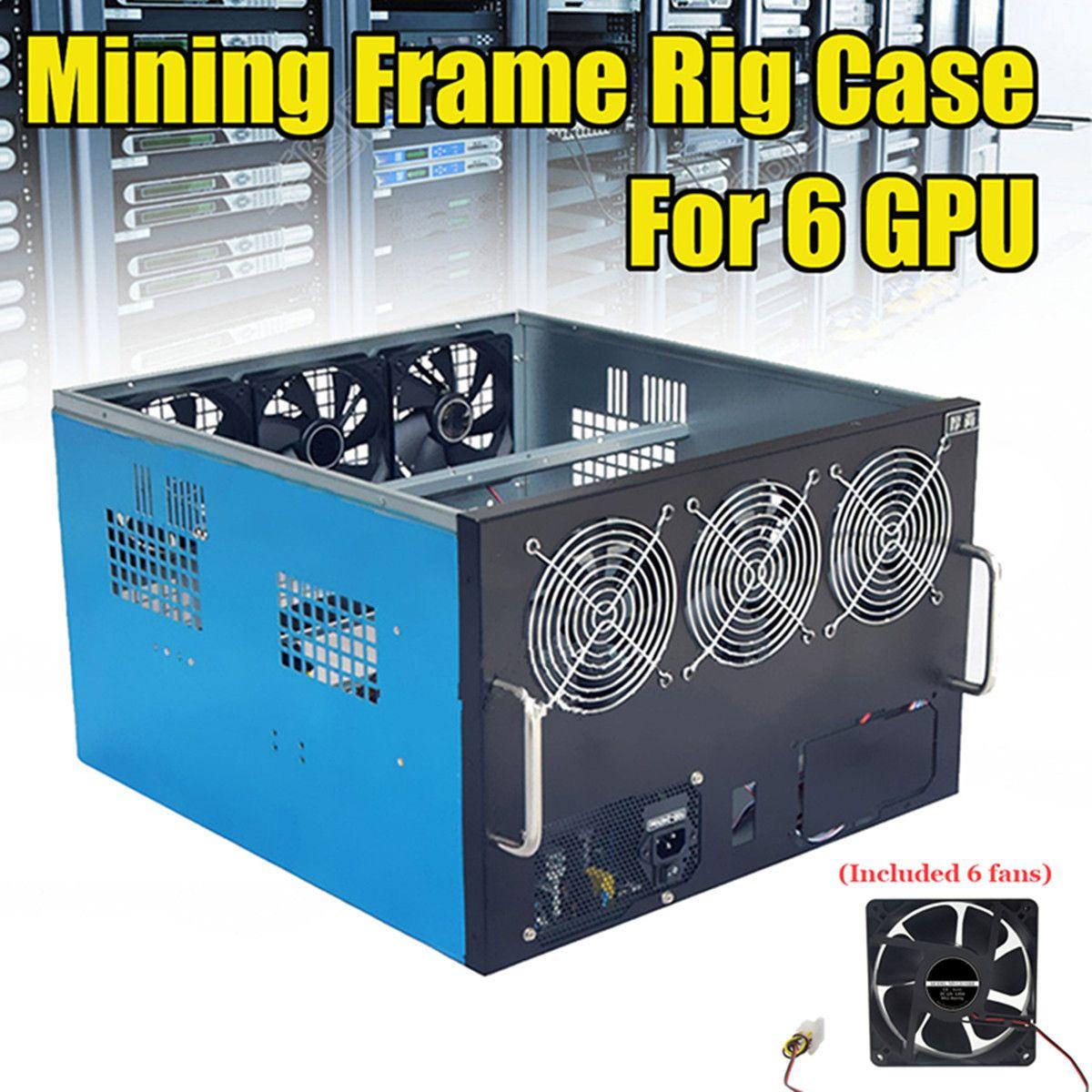 USB 2.0 FAI DA TE Dual Alimentazione del Ventilatore del Ventilatore di Estrazione Mineraria Telaio Rig Caso Per 6 GPU Crypto Valuta Minatore