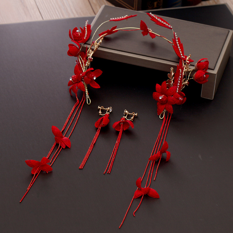 Red Fabric Flower Headband Tassel Headdress Alloy Golden Handmade Headpiece Women Costume Photography Headwear with Long Earring