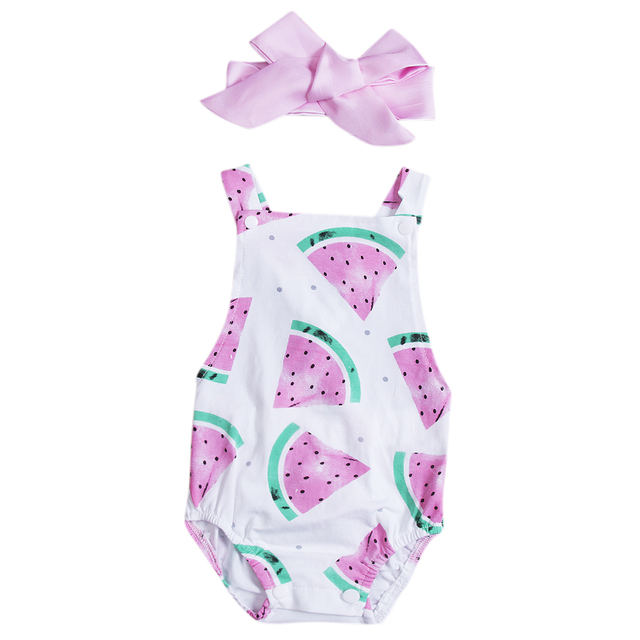Emmababy Sleeveless Watermelon Print Romper with Headband