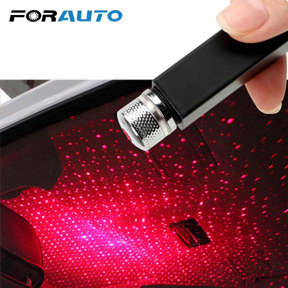 FORAUTO LED Car Roof Star Night Light Projector Atmosphere Galaxy Lamp USB Decorative Lamp Adjustable Multiple Lighting Effects