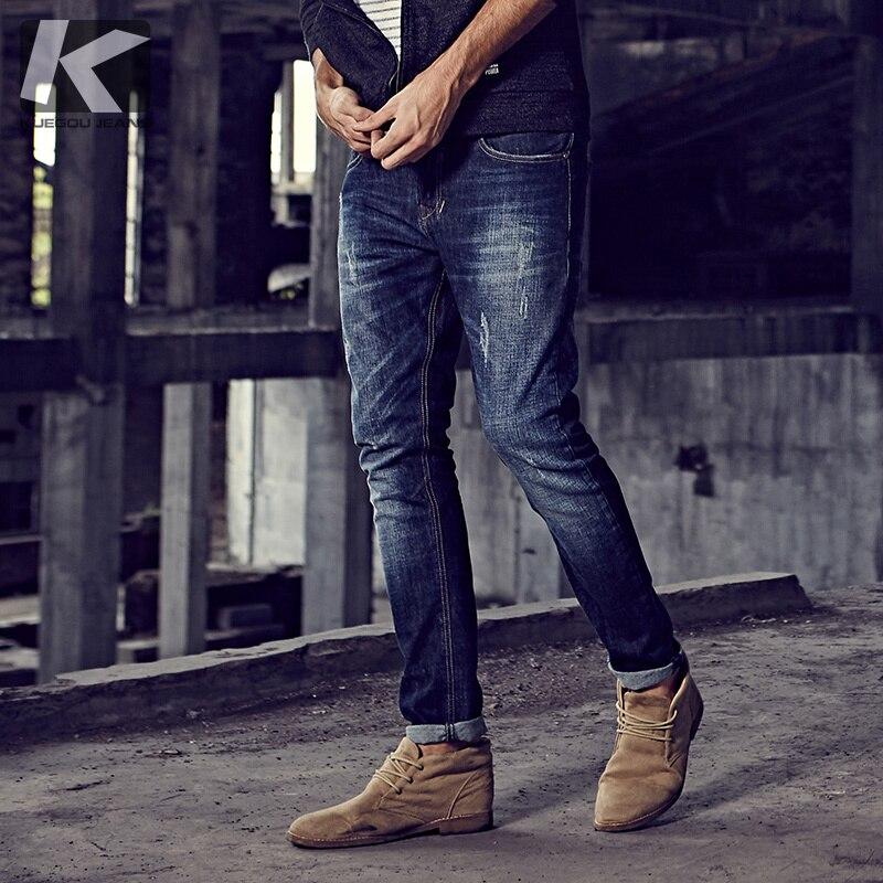 Autunno Degli Uomini Dei Jeans di Cotone Patchwork Blu Tasca di Colore Per La Moda Uomo Slim Fit Denim Pantaloni 2018 Nuovo Maschio di Usura Lungo pantaloni 9396-in Jeans da Abbigliamento da uomo su  Gruppo 1