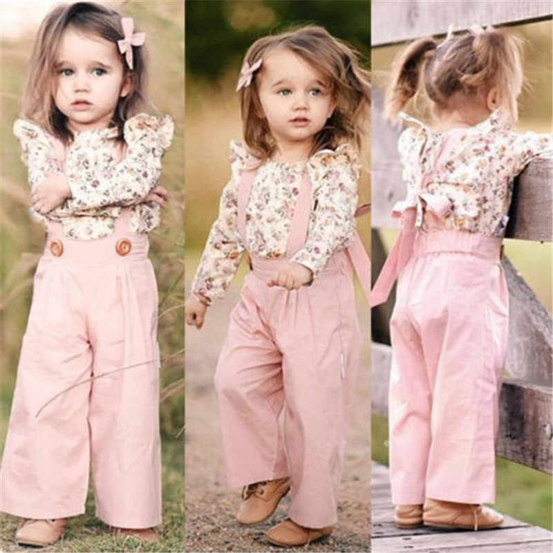 UK Toddler Kid Baby Girl Clothes Tops T-shirt Leopard Pants Autumn Winter Outfit