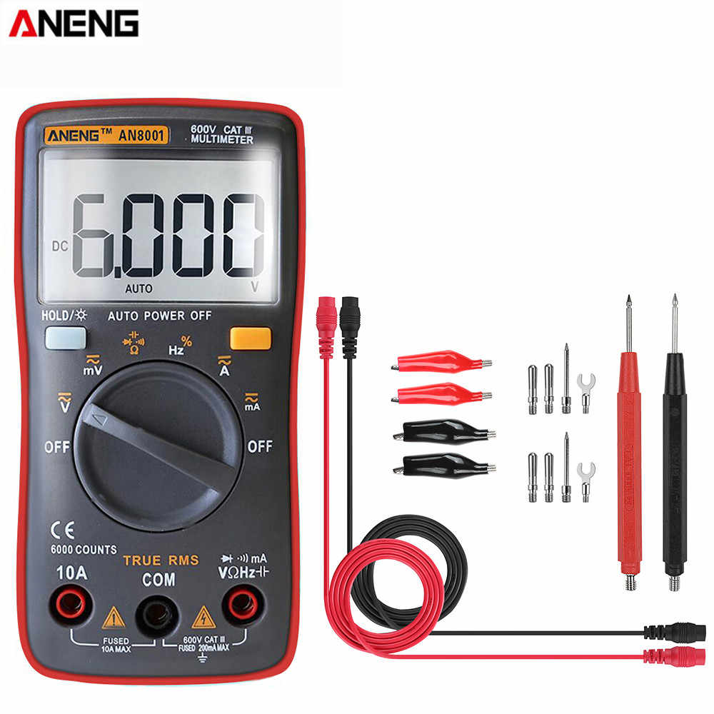 ANENG AN8001 Red Professional True RMS Digital Multimeter 6000 Counts Backlight AC/DC Ammeter Voltmeter Tester+ Test Lead Set