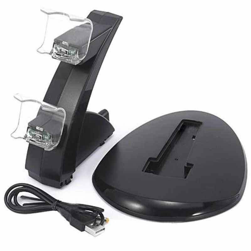 2 Game Controller Charger Station Mean PS4 Controller Top Jual PVC Hitam Dual USB Pengisian Dock