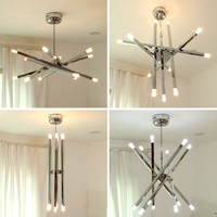 Cafe modern G4 led pendant lights 12 pcs CE contemporary lamp holder Metal Rod chrome star pendant lamp ceiling Free Shipping