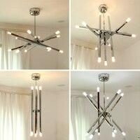 Cafe modern G4 led pendant lights 12 pcs CE contemporary lamp holder Metal Rod chrome star pendant lamp ceiling Free Shipping