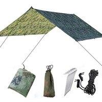 210T 3x3m Camouflage Sun Shelter Awning Tent Tarp Outdoor Camping Rain Fly Anti UV Beach Tent Shade Camping Sunshade Canopy