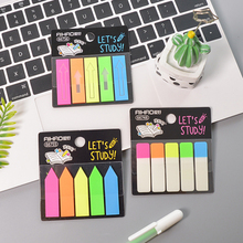 цена на 1Pc Color Fluorescence Transparent Memo Pad Planner Sticky Note Paper Kawaii Sticker Pepalaria Office 5 Colors 100 Sheets