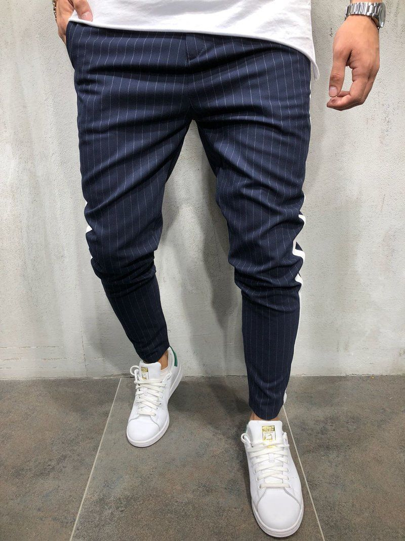2018 New Brand  Twill Jogger Pants Urban Hip Hop Harem Casual Trousers Slim Fit Striped Skinny Cotton Pencil Tracksuit Pants