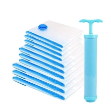 LICG-10 Pcs Vacuum Storage Bags Cleaner For Travel With Pump Reusable Bag Clothing, Duvets,