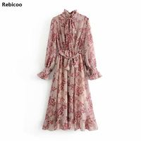 women flower print ruffle dress with belt vintage bow collar long sleeve pleated lady boho maxi dresses vestidos 5D25